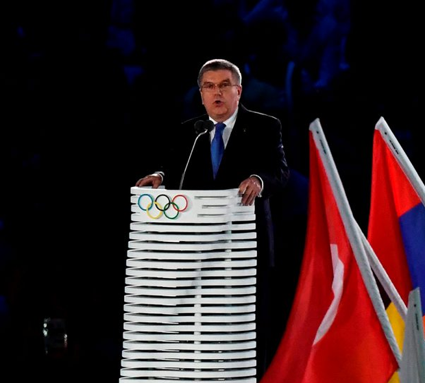 IOC president Thomas Bach speaks at the Rio Olympics in August