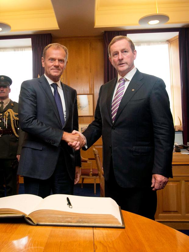 President of the European Council, Donald Tusk & Taoiseach Enda Kenny during a working lunch between the two at Government Buildings, Dublin. Discussions will focused on the future of Europe and preparations for the upcoming Informal Summit of 27 EU Heads of State and Government in Bratislava Photo: Gareth Chaney Collins