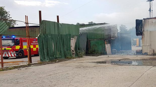 Scene in Clondalk industrial estate. Picture: @DubFireBrigade