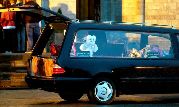 The remains of Nicola Kenny who was killed in a motorway accident arrives at The Cathedral of the Assumption in Thurles. Picture: Gerry Mooney