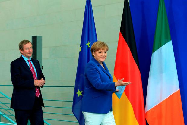 German Chancellor Angela Merkel meets Taoiseach Enda Kenny, in Berlin, Germany, after the Brexit vote to discuss the implications for Ireland. Photo: Krisztian Bocsi/Bloomberg