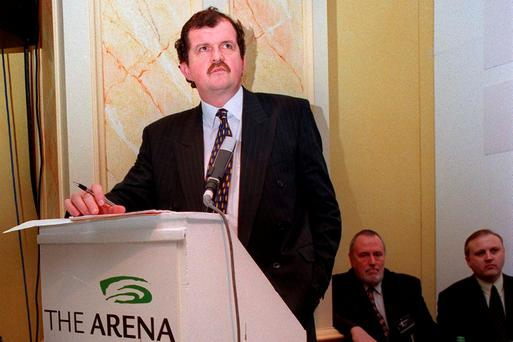 Former FAI chief executive Bernard O'Byrne at the announcement in the Burlington Hotel of the 'Arena' – later to be named Eircom Park – in 1999. Photo: David Maher