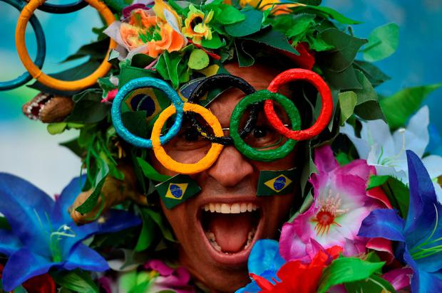 A supporter at the Maracanã Stadium ahead of the Paralympics opening ceremony. Photo by Paul Mohan/Sportsfile