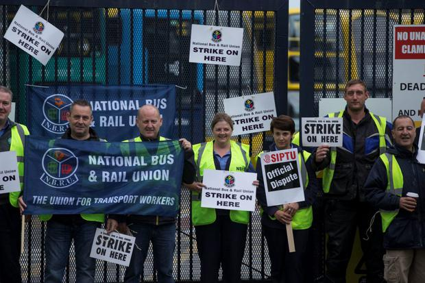 Workers on the picket line for the Dublin Bus strikes (Photo: Mark Condren)