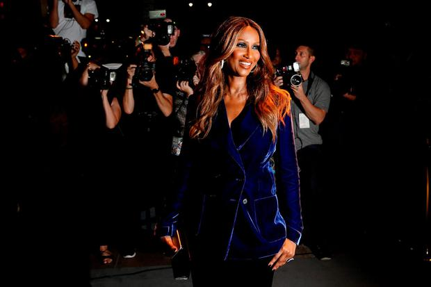 Model Iman arrives to attend a presentation of Tom Ford's Autumn/Winter 2016 collections during New York Fashion Week i