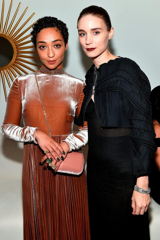 Ruth Negga (L) and Rooney Mara attend the Cartier Fifth Avenue Grand Reopening Event at the Cartier Mansion on September 7, 2016 in New York City. (Photo by Mike Coppola/Getty Images for Cartier)