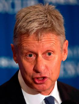 US Libertarian Party presidential candidate Gary Johnson speaking at a National Press Club Luncheon in Washington, DC