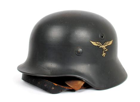 A helmet complete with the eagle and swastika