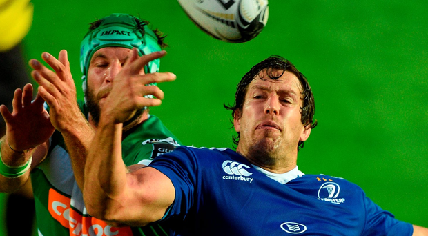 Mike McCarthy runs out for last weekend's clash against Treviso. Photo: Paul Mohan/Sportsfile