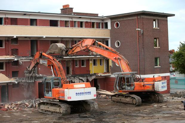 The demolition of the final block in St. Teresa's Gardens, Donore Avenue, Dublin 8 takes place. Picture credit; Damien Eagers