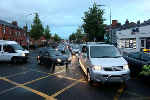 Heavy traffic this evening in Phibsborough due to the bus strike. Picture credit; Damien Eagers