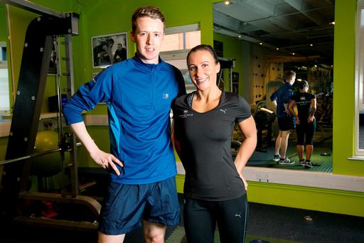 Ryan Nugent with instructor Maija Rumjanceva at BodyByrne Fitness Studio. Photo: Tony Gavin