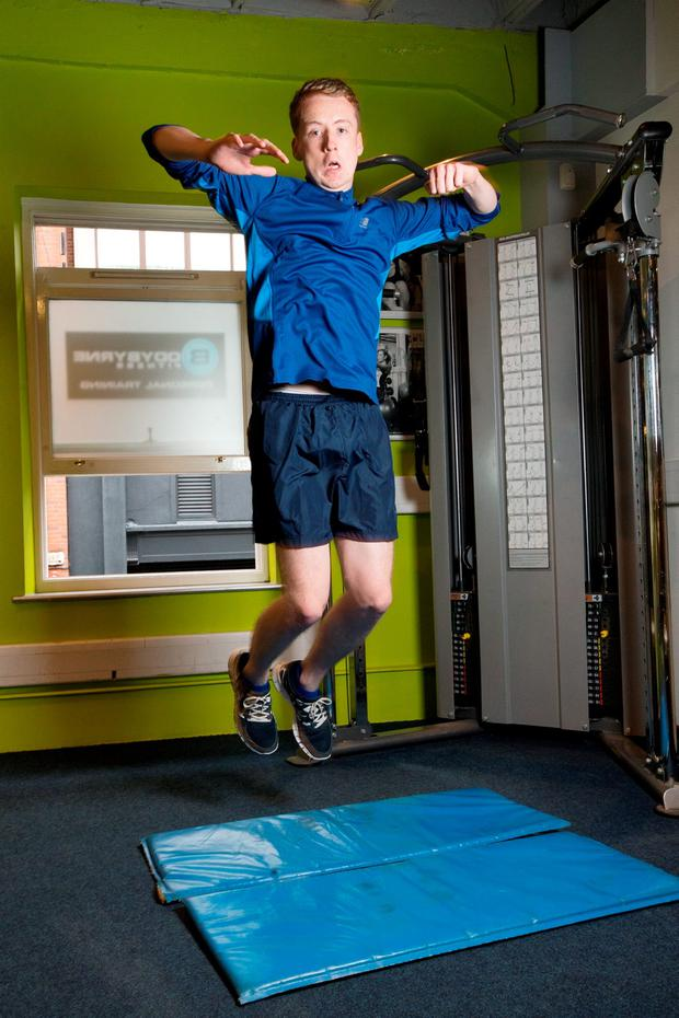 Ryan Nugent takes the Garda Fitness Test at BodyByrne Fitness Studio. Photo: Tony Gavin