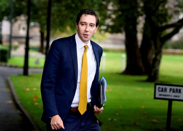Health Minister Simon Harris arriving for a Cabinet meeting at Government Buildings yesterday. Photo: Tom Burke