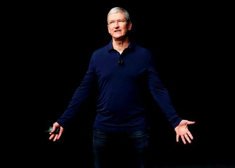 Apple CEO Tim Cook launching the iPhone 7 on Wednesday in San Francisco, California. REUTERS/Beck Diefenbach