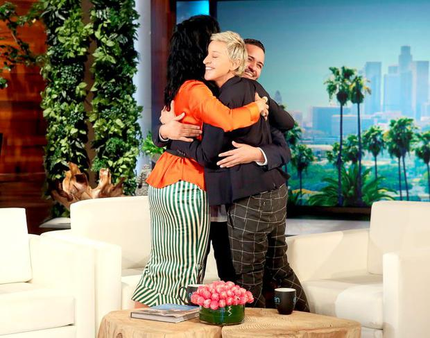 Ellen DeGeneres hugs Katy Perry with Pulse survivor Tony Marrero
