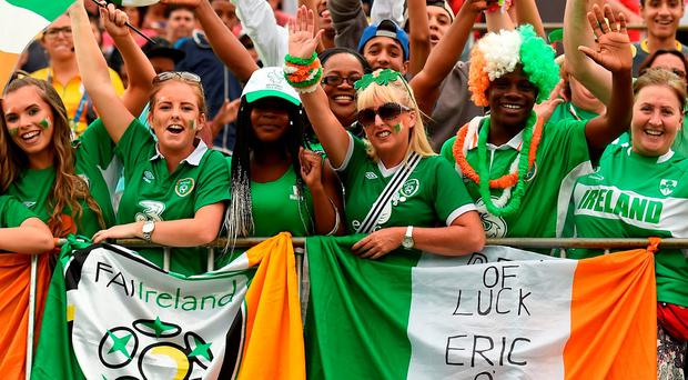 Ireland supporters during the men's 7-a-side football match between Ireland and Ukraine at Deodoro Stadium at the Rio Paralympics. Photo by Diarmuid Greene/Sportsfile