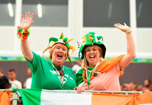 Anne McGillivary, mother of Ireland's Brian McGillivary, left, and Laurna Nolan, mother of Ryan Nolan, show their support for the team ahead of the Ukraine game