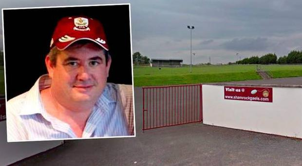 Det Gda Chris O'Neill (inset) was beaten unconscious as he attempted to protect a referee at Shamrock Gaels GAA pitch in Coola, Sligo (pictured)