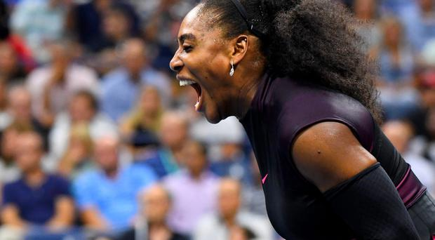 Sept 8, 2016; New York, NY, USA; Serena Williams of the USA reacts after winning a game in the second set against Karolina Pliskova of the Czech Republic on day eleven of the 2016 U.S. Open tennis tournament at USTA Billie Jean King National Tennis Center. Mandatory Credit: Robert Deutsch-USA TODAY Sports