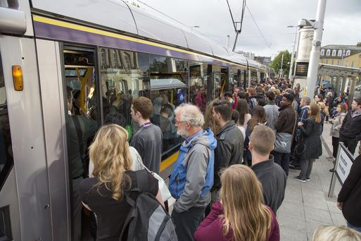 Passengers pictured unable to board the oversubscribed LUAS during the Bus Strike at Heuston Station today. PIC/ Colin O'Riordan