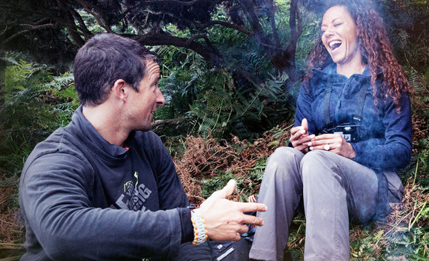Mel B and Bear Grylls on Running Wild. Photo: NBC