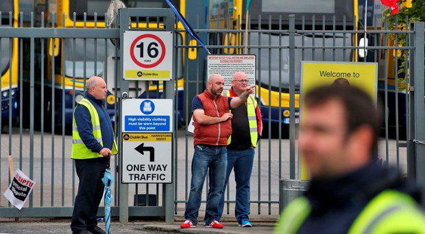 Striking Dublin Bus staff pictured on the picket line at the Harristown Depot near Dublin Airport this morning