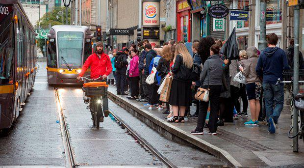 Extra busy Luas Red line at Abbey street as a result of the strike at Dublin Bus. Picture: Arthur Carron