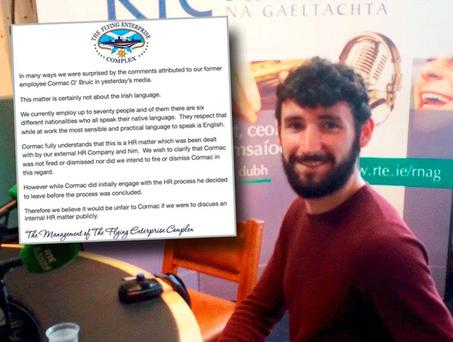 Cormac Ó Bruic and inset statement from Flying Enterprise pub