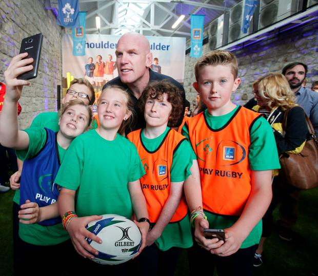 Former Irish rugby star Paul O'Connell poses for a picture the launch of the Aldi Play Rugby IRFU initiative in Terenure yesterday. Photo: Leon Farrell/Photocall Ireland.