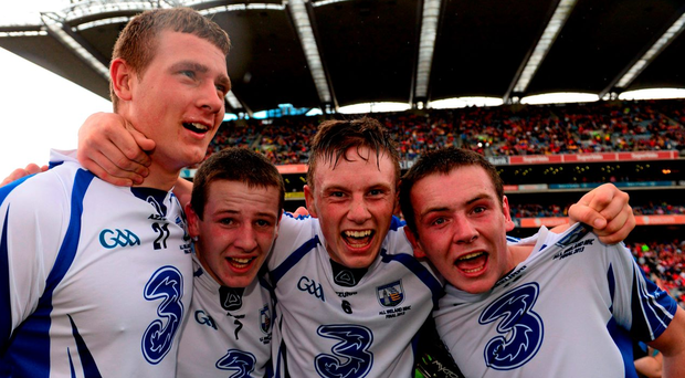 Shane Bennett celebrates with Cormac Curran, Austin Gleeson and brother Stephen after their 2013 All-Ireland minor final victory over Galway – tonight, three years later, Waterford bid to repeat the dose as U-21s in Semple Stadium. Picture: Paul Mohan/Sportsfile