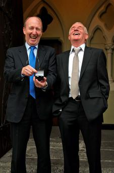 Eamon Dunphy (right) with best man Shane Ross on Dunphy's wedding day in 2009. Photo: Collins