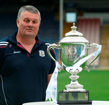 Galway U-21 manager Tony Ward with the new James Nowlan Cup. Photo: Sam Barnes/Sportsfile