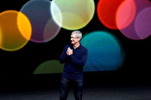 Apple boss Tim Cook launching the new range of products on Wednesday. Photo: AP
