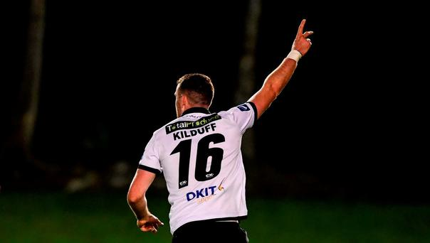 Ciaran Kilduff of Dundalk celebrates after scoring his side's first goal of the game during the Irish Daily Mail FAI Cup Quarter-Final match between UCD and Dundalk at the UCD Bowl in Belfield, Dublin. Photo by Ramsey Cardy/Sportsfile