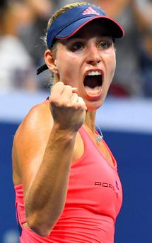 Angelique Kerber reacts after beating Caroline Wozniacki on day eleven of the 2016 U.S. Open Picture credit: Robert Deutsch/USA TODAY Sports
