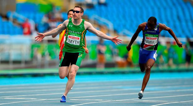 Ireland's Jason Smyth crosses the line to win the T13 100m final for the third time in some style at the Rio Olympic Stadium Photo by Diarmuid Greene/Sportsfile