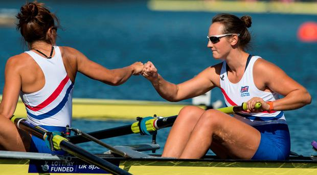 Ailish Sheehan celebrates winning a bronze medal in the world university rowing championships in Poznan, Poland