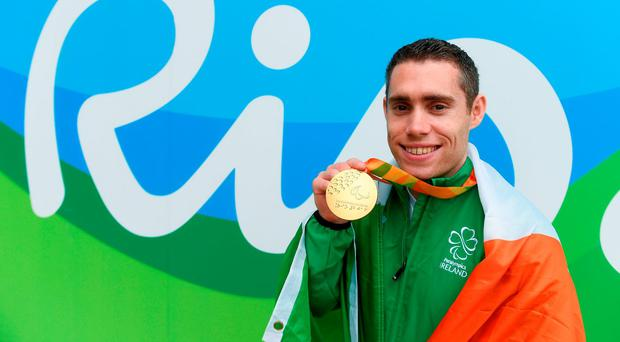 Jason Smyth with his gold medal for winning the men's 100m T13 Final at the Paralympic Games in Rio yesterday. Photo: Diarmuid Greene/Sportsfile