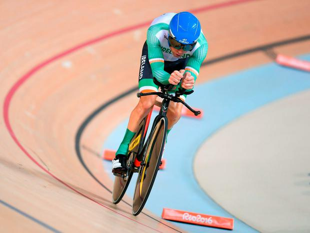 Galway's Eoghan Clifford of Ireland in action during the Men's C3 3000m Individual Pursuit qualifier at the Paralympic Games in Rio. Photo: Paul Mohan/Sportsfile
