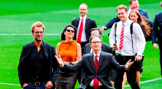 The new stand at Anfield was officially opened yesterday in the presence of, left, Liverpool manager Jurgen Klopp and owner John W Henry Photo by Barrington Coombs/Getty Images
