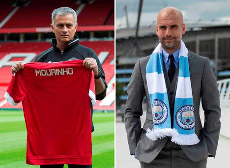 Jose Mourinho and Pep Guardiola Picture: OLI SCARFF/AFP/Getty Images