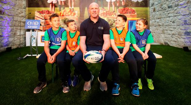 Gavin Carey, 11, Danny Nash, 8, Ben Mulvey, 11, and Hope Glynn, 11 with former Irish rugby international Paul O Connell at the launch of Aldi Play Rugby, an IRFU initiative aimed at assisting teachers, coaches and parents involved in rugby at primary and early secondary school level to deliver an introduction to rugby for boys and girls Photo: Leon Farrell/Photocall Ireland