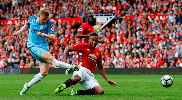 Manchester City's Kevin De Bruyne hits the post Reuters / Phil Noble