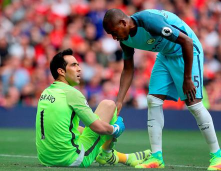 Manchester City goalkeeper Claudio Bravo had a debut to forget