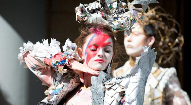 Bank of Ireland Junk Kouture encourages young people to design and create works of fashion art from recyclable materials, igniting their creativity and increasing their environmental consciousness. Pictured Rebecca McNally and Manus Manning. PIC PAUL SHARP/SHARPPIX