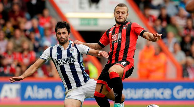 Bournemouth's Jack Wilshere in action with West Bromwich Albion's Claudio Yacob Action Images via Reuters / Henry Browne