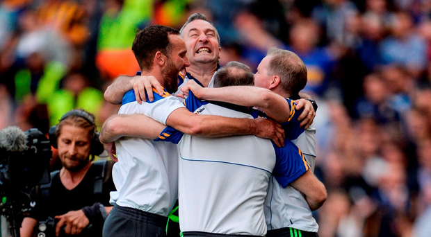 Tipperary manager Michael Ryan and his backroom staff celebrate their team's victory over Kilkenny last Sunday. Photo: Seb Daly / Sportsfile