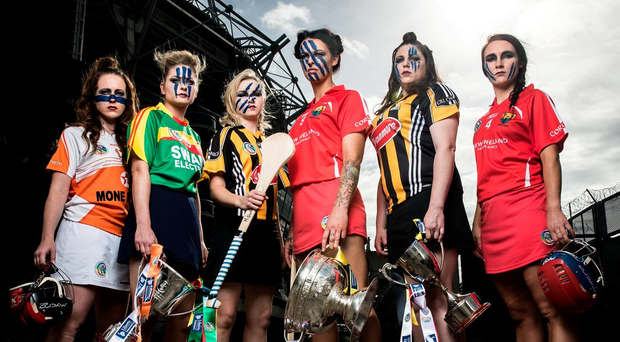 Liberty Insurance All-Ireland Camogie Championship finals' captains (l to r) Ciara Donnelly (Armagh), Teresa Meaney (Carlow), Michelle Quilty (Kilkenny senior), Ashling Thompson (Cork senior), Áine Fahey (Kilkenny intermediate) and Niamh Ní Chaoimh (Cork nintermediate). Photo: INPHO/Billy Stickland