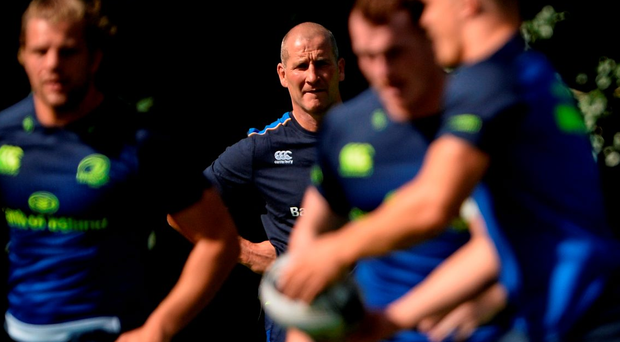 Leinster senior coach Stuart Lancaster casts a critical eye as players train during training at UCD in Belfield. Photo: Seb Daly/Sportsfile